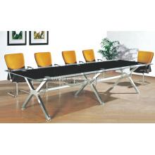 Mobilier de bureau moderne Table de conférence en verre de base en métal (FOHJ-8086)