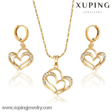 62814- Xuping Women Trendy Double Heart Charms Jewellery Set Finding