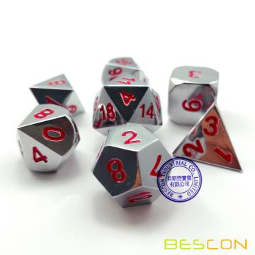 Bescon Heavy Duty Shiny Chrome Metal Dice Set of 7, Solid Metallic Chrome Polyhedral Role Playing Game Dice Set w/ Red Numbers