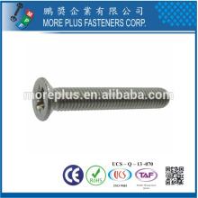 Hecho en la cruz de Taiwán Empujón recto de la impulsión Cabeza plana Azufre de acero suave plateado Níquel métrico M5X10 Tornillo de la máquina