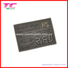 Fashion Leather Label with Metal Logo for Jeans