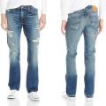 Homens azuis Algodão Estiramento Básico Wash Lavagem Casual Wear Slim Fit Jeans Reta Em Linha Reta