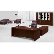 Mélamine L en forme de bureau de bureau brun Mobilier de bureau contemporain (FOHBE20-A)