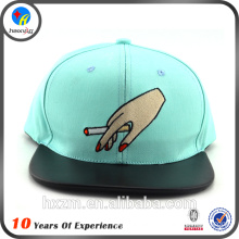 Leather brim funny snapback hats with embroidery