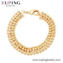 75122 joyas de oro pesado de Xuping diseña el encanto especial de la pulsera del latón del grano de la semilla al por mayor de China