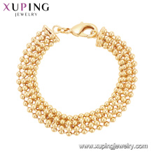 75122 Xuping heavy gold jewellery designs special seed bead brass bracelet charm China wholesale