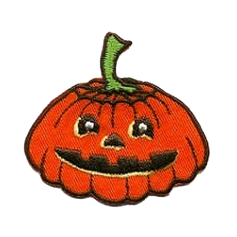 Orange Pumpkin Embroidered Applique Patch