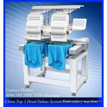 Máquina de bordar venda Top 2 cabeça para negócios feliz bordado com bordado do tampão do vestuário