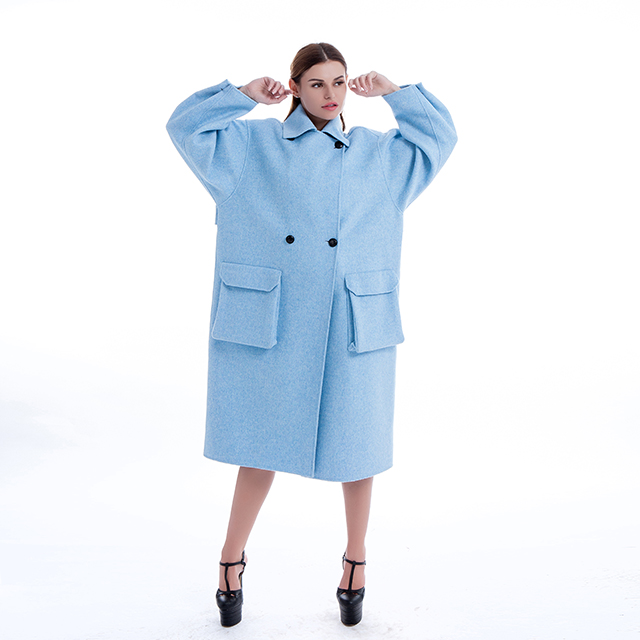 Cashmere coat Fashion blue