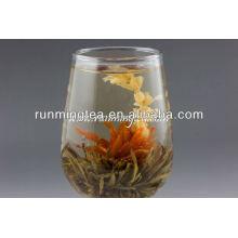 Té de flores de té de vidrio
