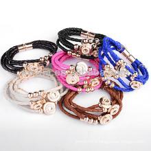Bracelet à cordon en cuir tressé coloré à chaud et chaud, NH00258