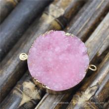 Розовый цвет Druzy друзового подвеска разъемы природы Druzy Geode камень Druzy Кварц золота покрытием драгоценными камнями Кулон