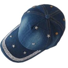 Free shipping 2014 new design most popular rhinestone star shaped baseball caps women men adult jean baseball cap cheap
