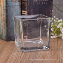 Clear Square Cube Votive Glass Candle Jar