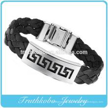 Joyas de acero inoxidable personalizadas de alta calidad, con refuerzo de espesor, PU, marca, pulseras de cuero de silicona personalizadas para hombres