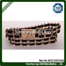 Feminino Metal clássico Cintura Feminino Preto Cinto estreito de ouro para vestido de mulher / Cintos Moda Mulher Cinto de Metal