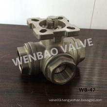L Port Three Way Ball Valve with ISO5211 Mounting Pad