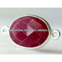 Wholesale Ruby Bezel Connectors, Natural Ruby Silver Connectors Jewelry Supplier