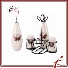 Vinagre de cerámica del aceite de la pimienta de la sal de la venta caliente fijado con el estante