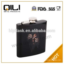 6oz Black painted with water transfer decal metal antique hip flask
