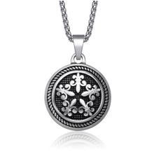 Bijoux de mode collier rond pendentif en acier inoxydable 316l