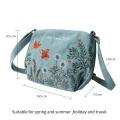 Bordado em bolsa de lona feminina de princesa florida