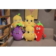 Custom Plush Toy Fruits Vegetables Embroidery Face