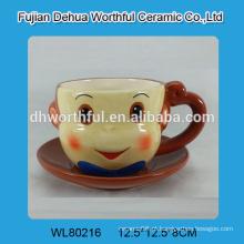 Cerâmica, macaco, café, copo, pires