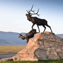 alta qualidade bronze alce escultura decoração ao ar livre