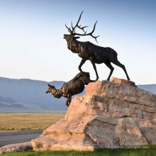 высокое качество бронзовый лось скульптура открытый декор