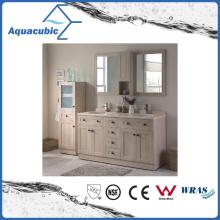 Vanity de madeira compensada com armário de espelho e gabinete lateral (ACF8907)