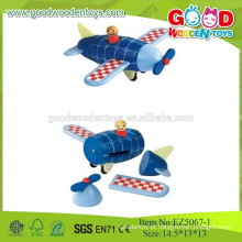 2015 New Blue Wooden Kids Toys Wooden Airplane