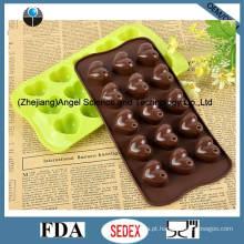 15-Cavidade Silicone Chocolate Molde Coração Silicone Gelo Molde Sc42