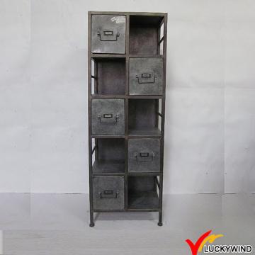 Galvanizado, vindima, gavetas, metal, arquivo, armário, divisores