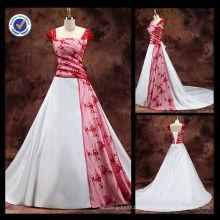 Atacado 2014 Novo 100% elegante Sexy ao redor do Red Stripe Neck A-line com vestido de noiva Appliqued Chapel Train nupcial WA00076