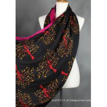 Senhoras moda viscose árvore lenço impresso (yky1023-6)