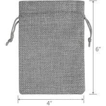 Promotional reusable gray burlap cotton and jute drawstring bag