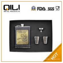gift set plate stickup on leather stainless steel hip flask with cups