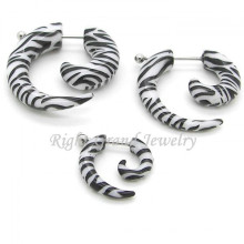 Acrílico UV Zebra Logo Pattern Fake Piercing Ear espiral
