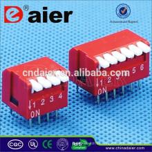 Daier Rojo / Azul 1 ~ 12 Posiciones Plato de Piano de Plástico SERIE DP Interruptor Dip Control Remoto