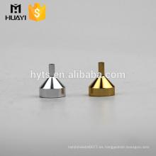 embudo dispensador de mini perfumes de acero dorado y plateado