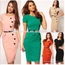 Gros dames élégant bureau crayon robe femmes stich mousseline robe femmes bureau usure robe