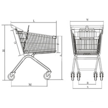 Supermarché Metal Shopping Cart avec Elevator Wheels