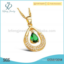 Fashion drop pendant necklace,cuban link gold water drop chain