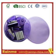 Мини-степлер в круглой пластиковой коробке