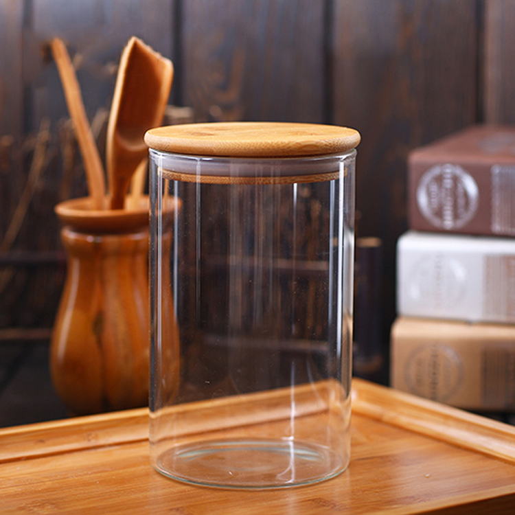 Wholesale Eco-Friendly Glass Storage Jar with Nature Bamboo Lid