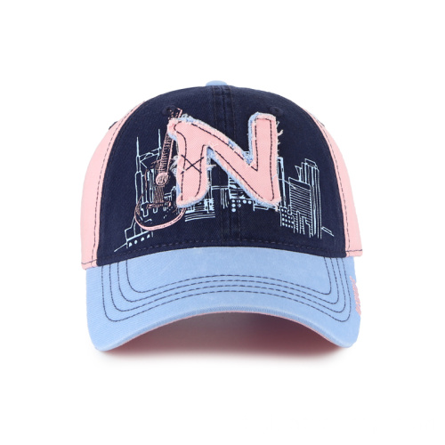 Casquette de baseball Washed Ladies avec patch double couche