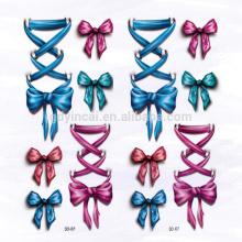 Autocollant de tatouage adapté aux besoins du client 3D imperméable de bowknot de modèle d'arc pour s'habiller
