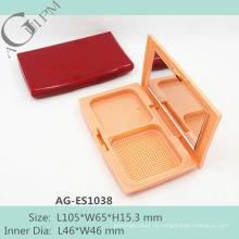 Пустой прямоугольный компактный порошок дело с зеркало AG-ES1038, AGPM косметической упаковки, Эмблема цветов