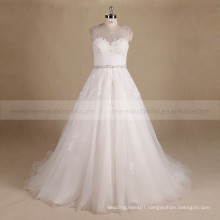 Glamourous Scoop Neck A-line Beads Lace Embellish Wedding Party Dress With Chapel Train